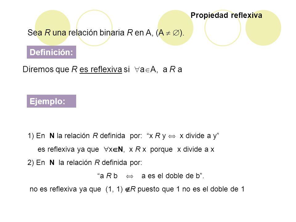 Sea R una relación binaria R en A, (A  ).