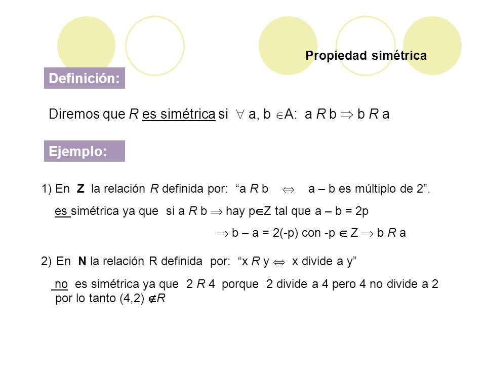 Diremos que R es simétrica si  a, b A: a R b  b R a