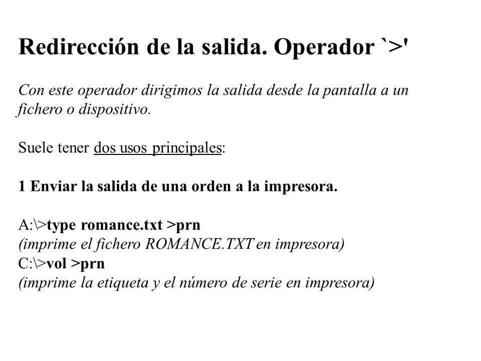 Redirección de la salida. Operador `>