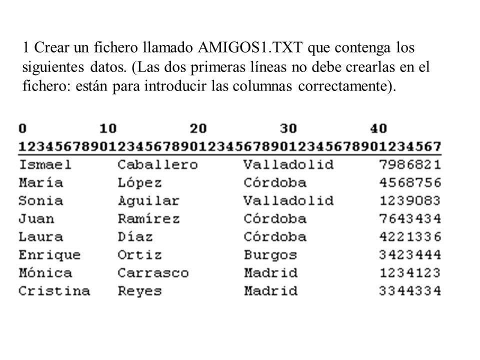 1 Crear un fichero llamado AMIGOS1