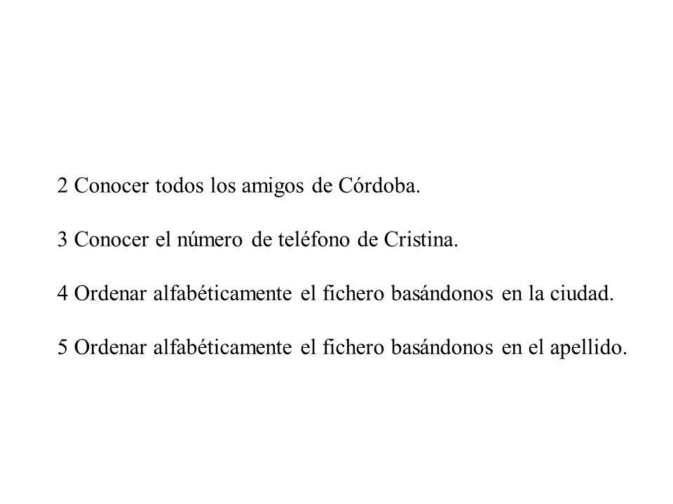 2 Conocer todos los amigos de Córdoba.