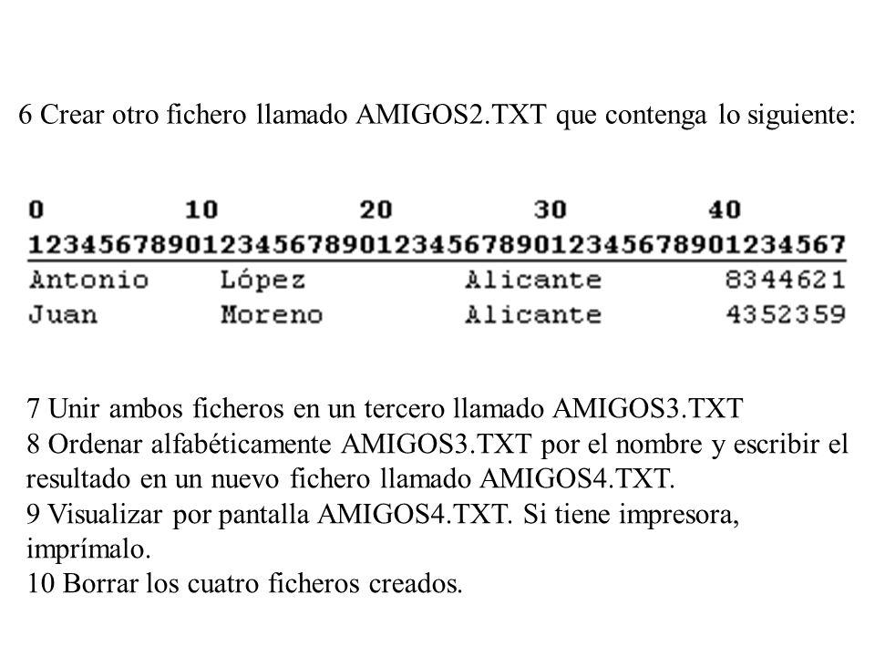 6 Crear otro fichero llamado AMIGOS2.TXT que contenga lo siguiente:
