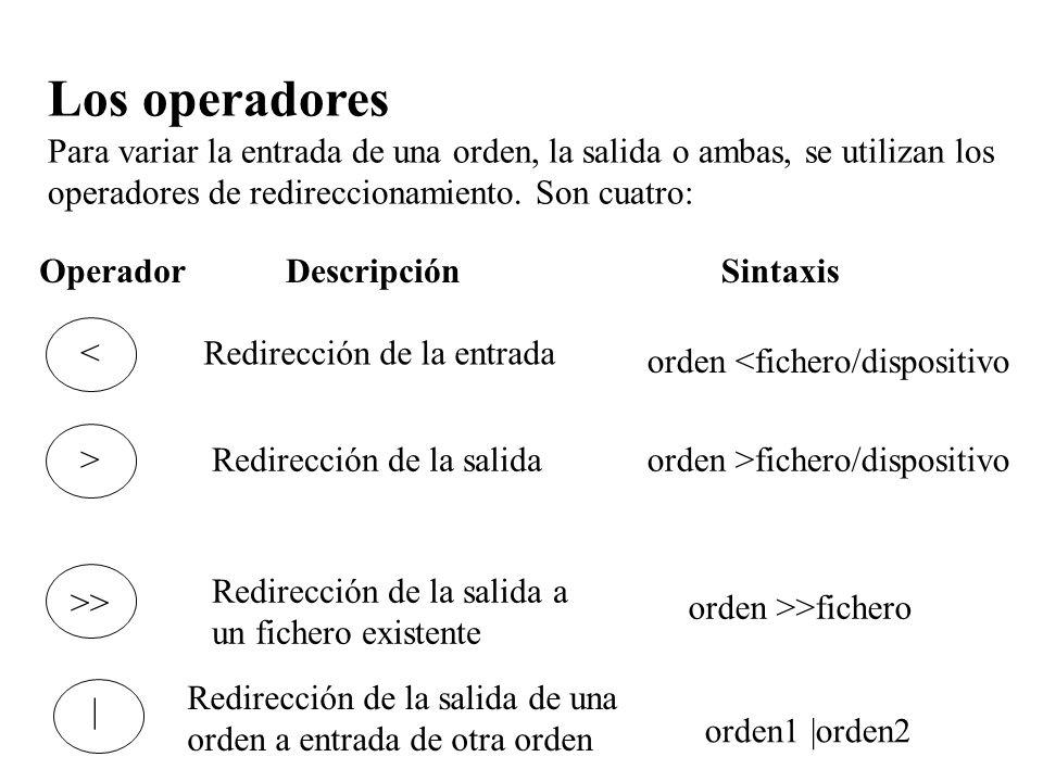 Los operadores. Para variar la entrada de una orden, la salida o ambas, se utilizan los operadores de redireccionamiento. Son cuatro:
