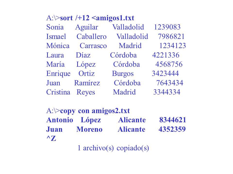 A:\>sort /+12 <amigos1