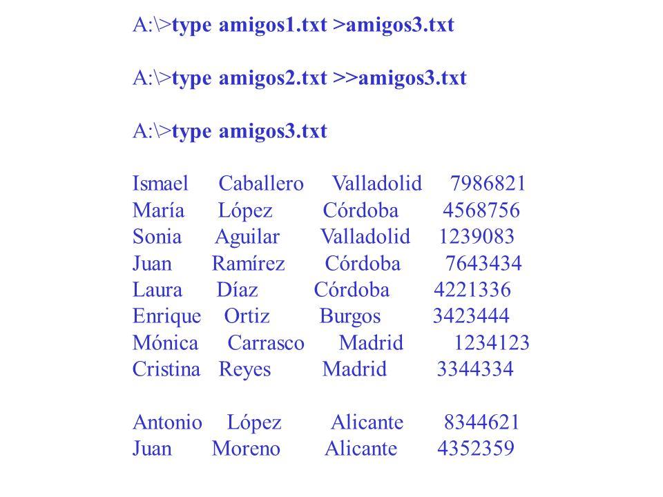 A:\>type amigos1. txt >amigos3. txt A:\>type amigos2