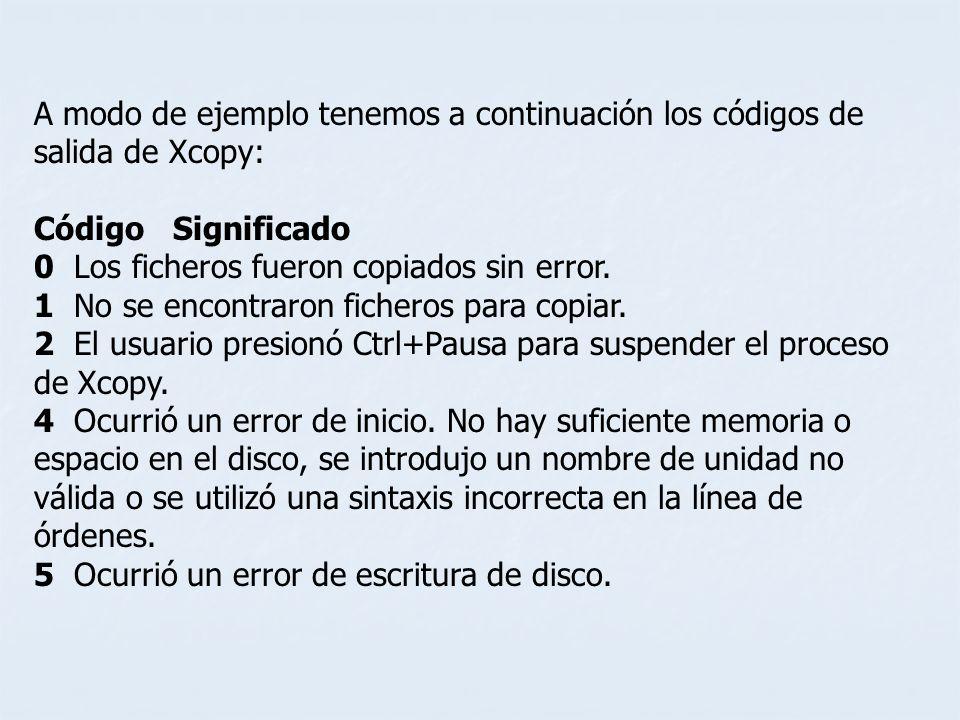 A modo de ejemplo tenemos a continuación los códigos de salida de Xcopy: