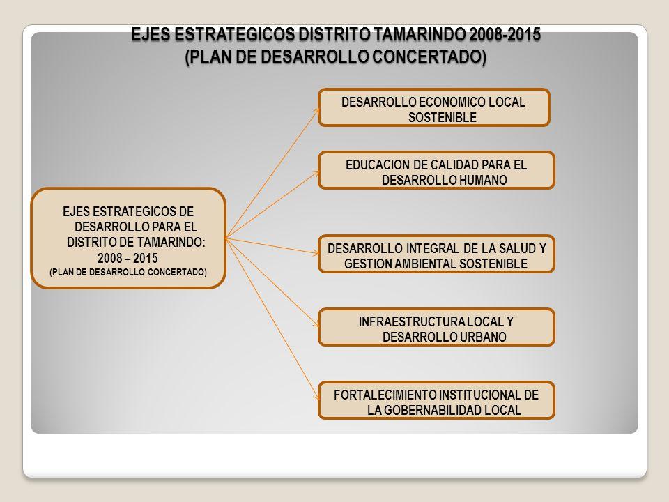 EJES ESTRATEGICOS DISTRITO TAMARINDO 2008-2015 (PLAN DE DESARROLLO CONCERTADO)
