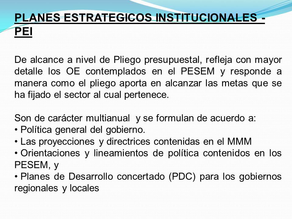 PLANES ESTRATEGICOS INSTITUCIONALES - PEI
