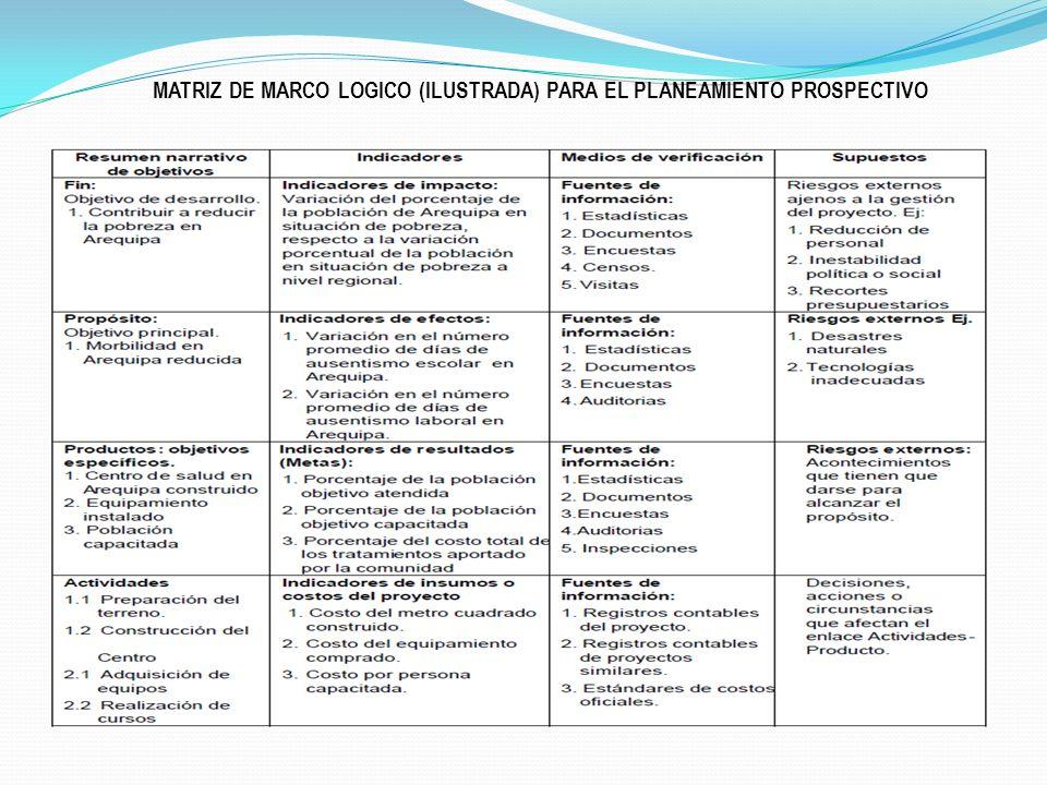 MATRIZ DE MARCO LOGICO (ILUSTRADA) PARA EL PLANEAMIENTO PROSPECTIVO