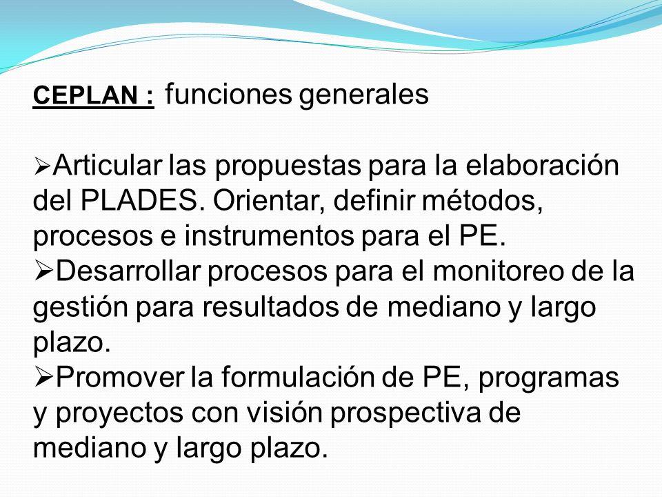 CEPLAN : funciones generales