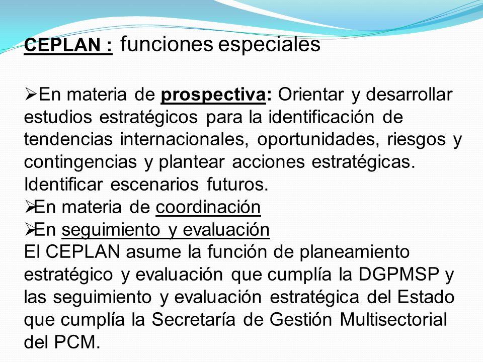 CEPLAN : funciones especiales
