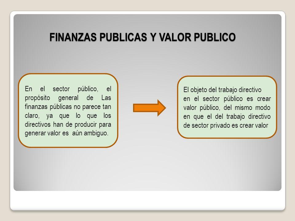 FINANZAS PUBLICAS Y VALOR PUBLICO