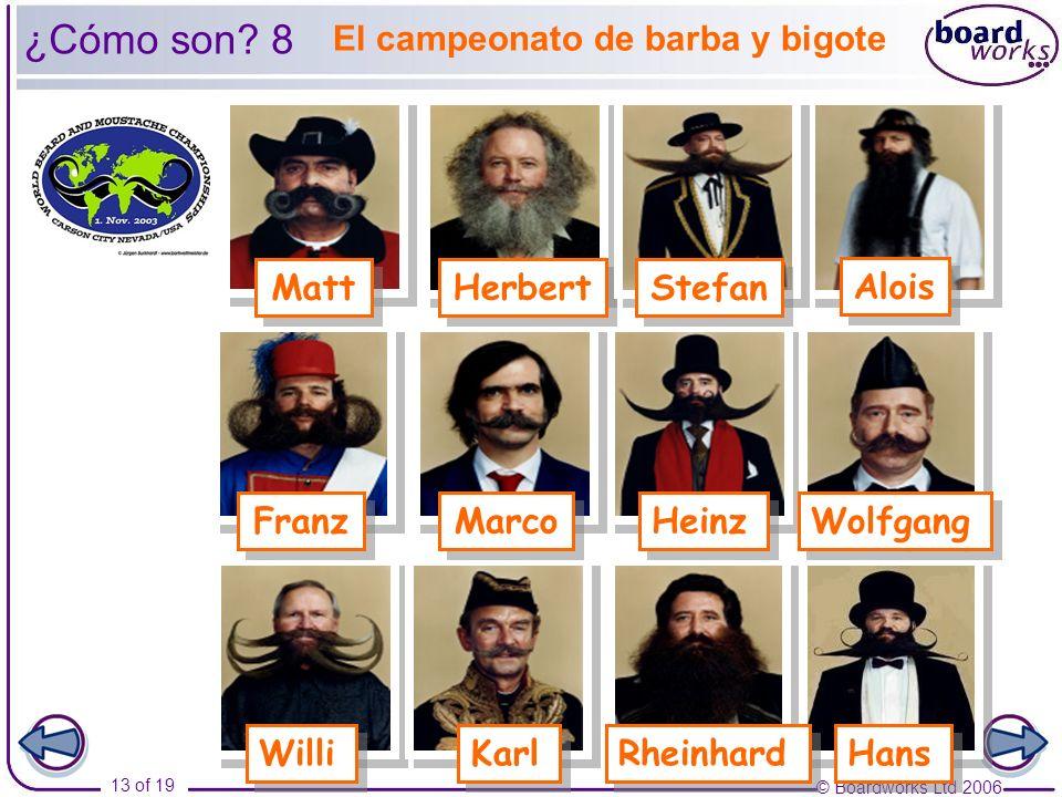 ¿Cómo son 8 El campeonato de barba y bigote Matt Herbert Stefan Alois