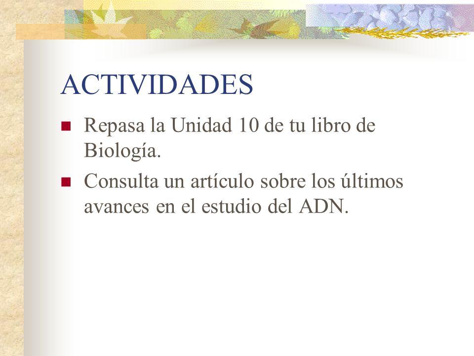 ACTIVIDADES Repasa la Unidad 10 de tu libro de Biología.