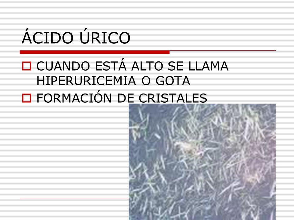 ÁCIDO ÚRICO CUANDO ESTÁ ALTO SE LLAMA HIPERURICEMIA O GOTA