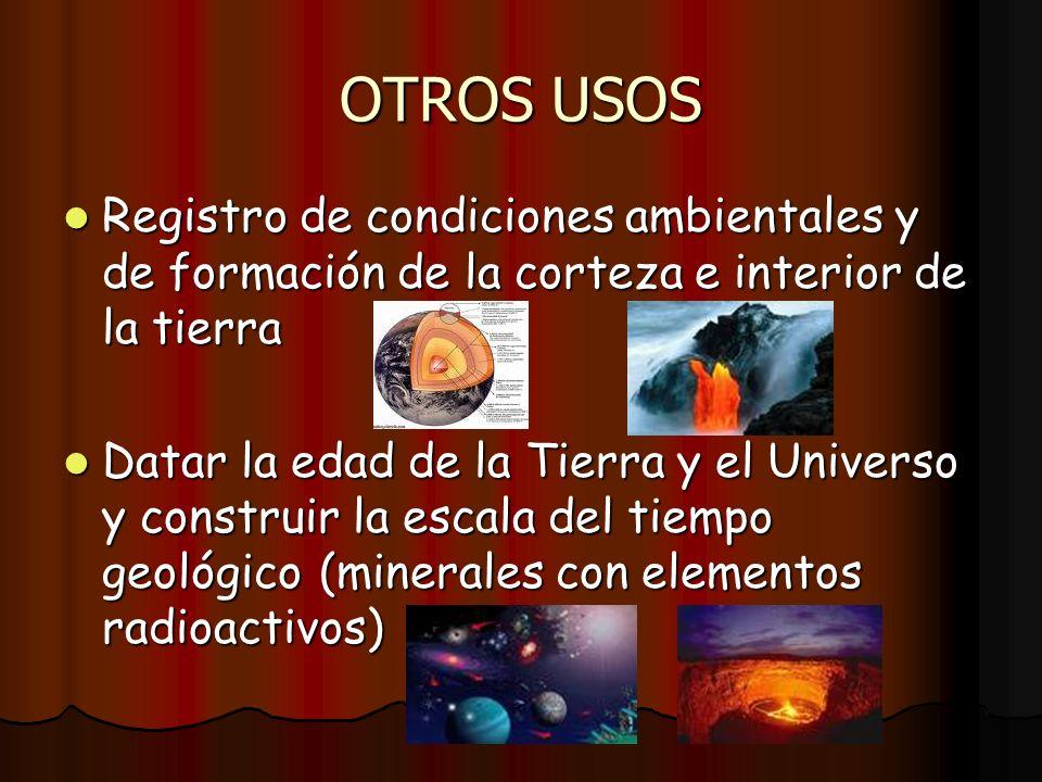 OTROS USOS Registro de condiciones ambientales y de formación de la corteza e interior de la tierra.