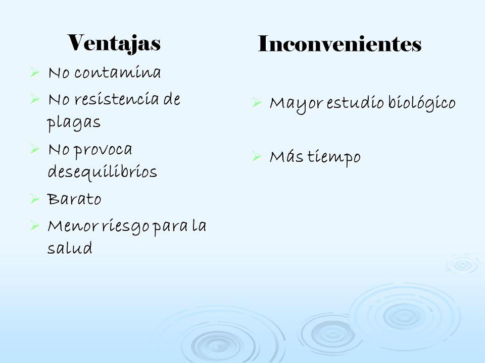 Inconvenientes Ventajas No contamina No resistencia de plagas