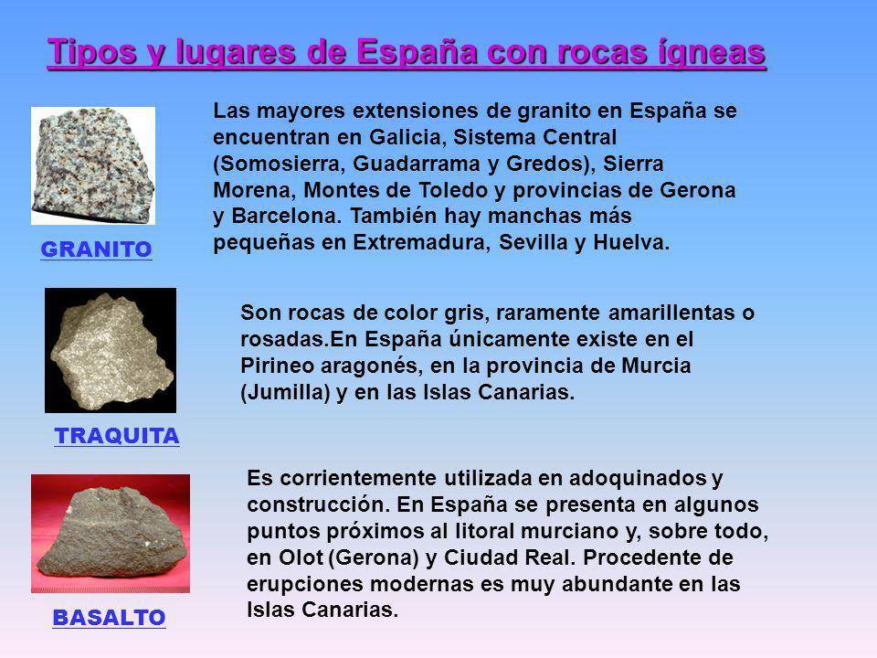 Tipos y lugares de España con rocas ígneas