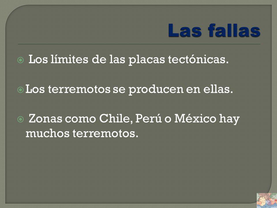 Las fallas Los límites de las placas tectónicas.