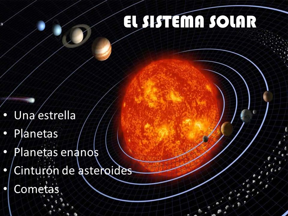 EL SISTEMA SOLAR Una estrella Planetas Planetas enanos