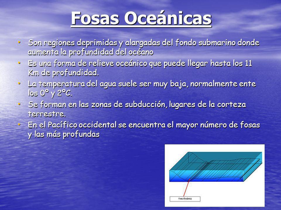 Fosas Oceánicas Son regiones deprimidas y alargadas del fondo submarino donde aumenta la profundidad del océano.