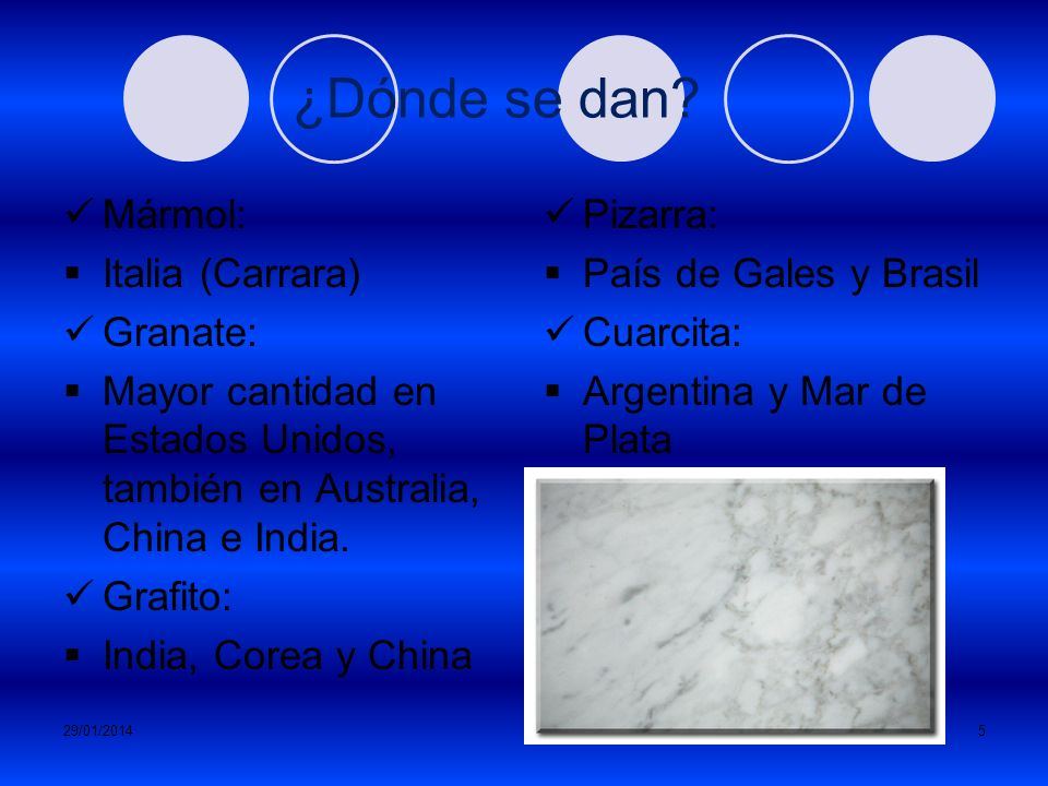 ¿Dónde se dan Mármol: Italia (Carrara) Granate: