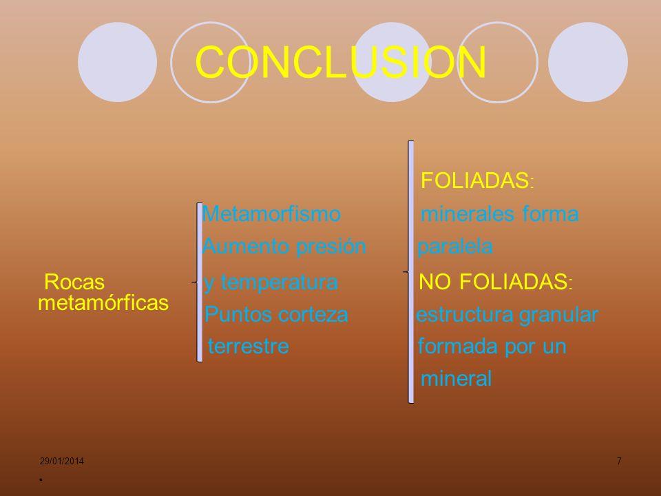 CONCLUSION FOLIADAS: Metamorfismo minerales forma