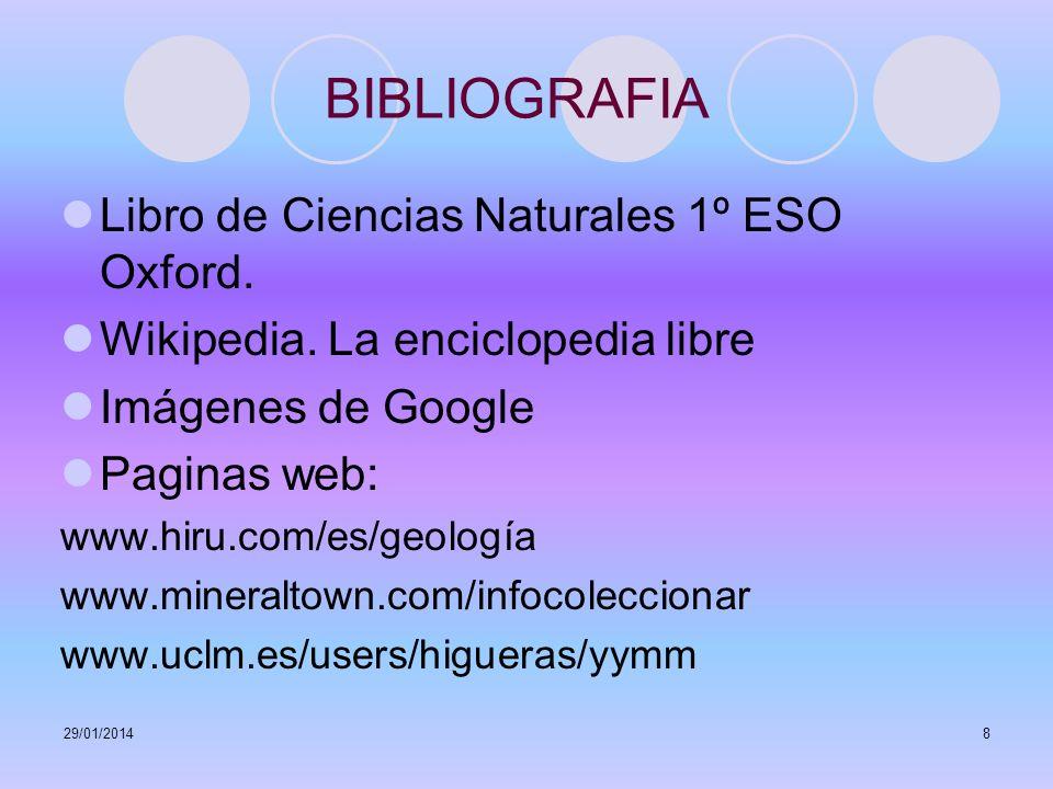 BIBLIOGRAFIA Libro de Ciencias Naturales 1º ESO Oxford.