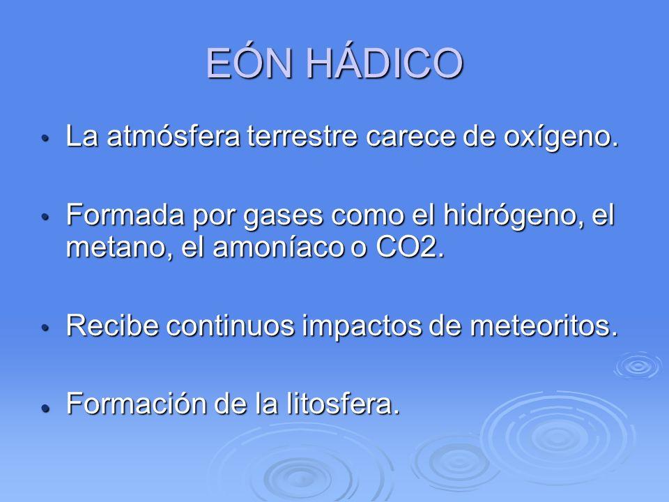 EÓN HÁDICO La atmósfera terrestre carece de oxígeno.