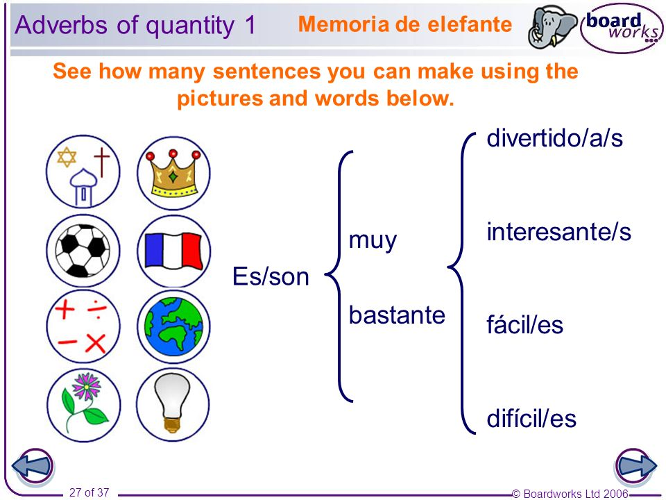 Adverbs of quantity 1 divertido/a/s interesante/s fácil/es muy