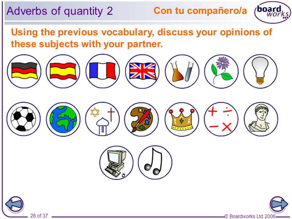 Adverbs of quantity 2 Con tu compañero/a
