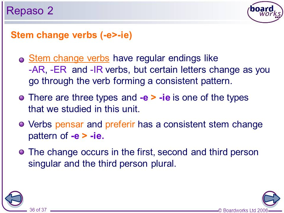 Repaso 2 Stem change verbs (-e>-ie)