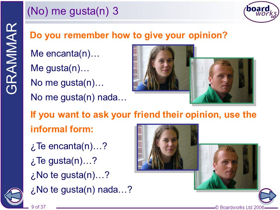 (No) me gusta(n) 3 Do you remember how to give your opinion