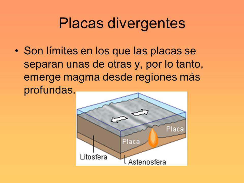 Placas divergentes Son límites en los que las placas se separan unas de otras y, por lo tanto, emerge magma desde regiones más profundas.