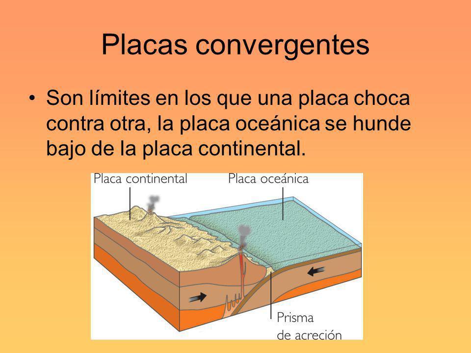 Placas convergentesSon límites en los que una placa choca contra otra, la placa oceánica se hunde bajo de la placa continental.
