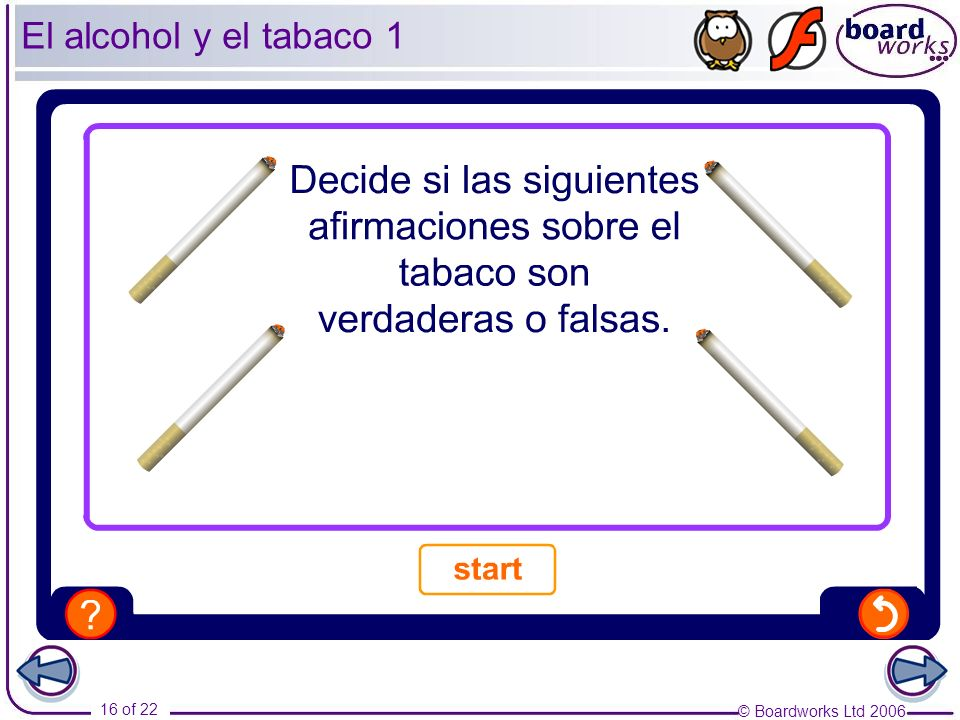 El alcohol y el tabaco 1This is a more advanced activity, suitable for higher-ability students. Vocabulary: