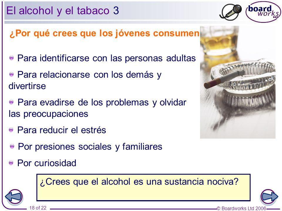 El alcohol y el tabaco 3 ¿Por qué crees que los jóvenes consumen alcohol Para identificarse con las personas adultas.