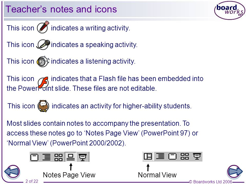 Teacher's notes and icons