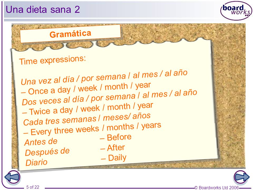 Una dieta sana 2 Gramática Time expressions: