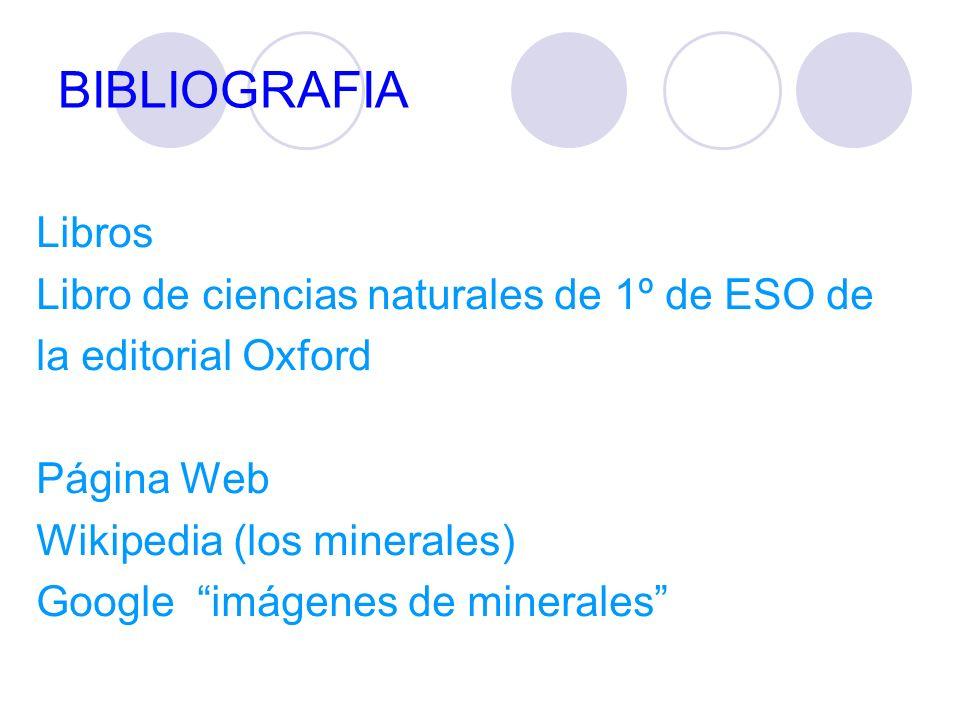 BIBLIOGRAFIA Libros Libro de ciencias naturales de 1º de ESO de