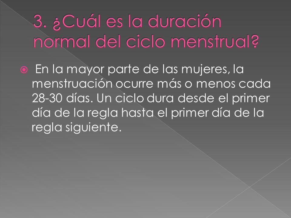 3. ¿Cuál es la duración normal del ciclo menstrual