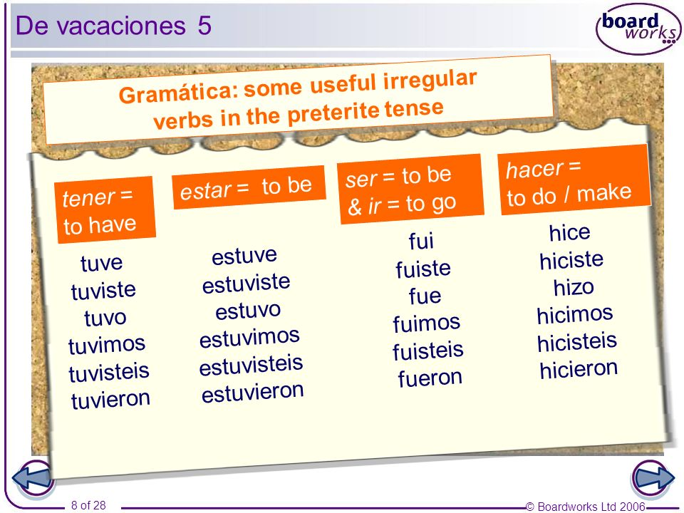 Gramática: some useful irregular verbs in the preterite tense