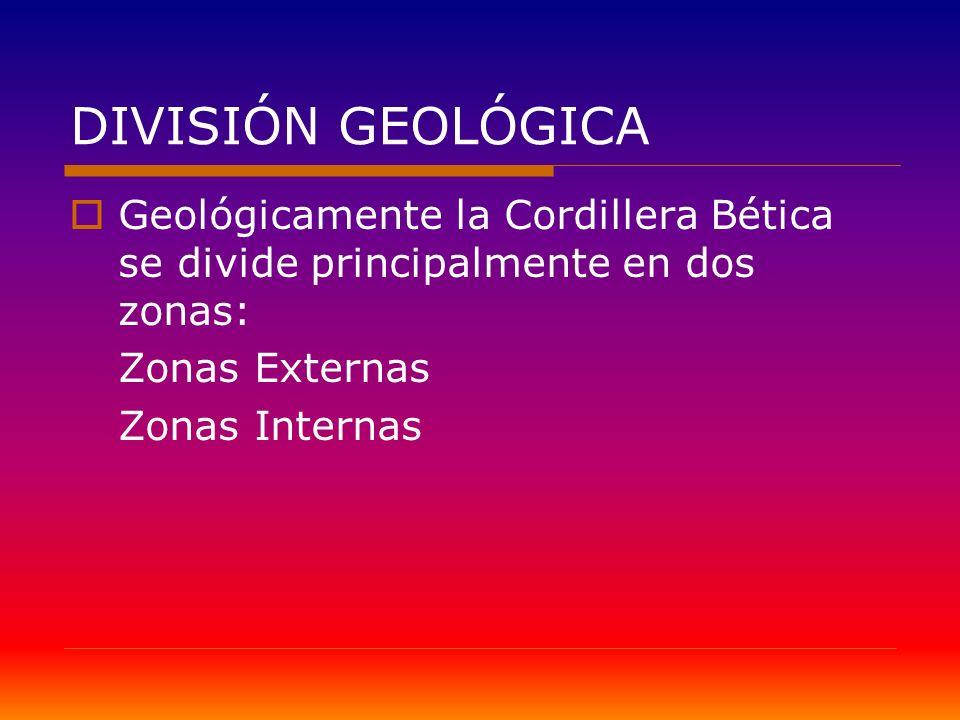 DIVISIÓN GEOLÓGICA Geológicamente la Cordillera Bética se divide principalmente en dos zonas: Zonas Externas.