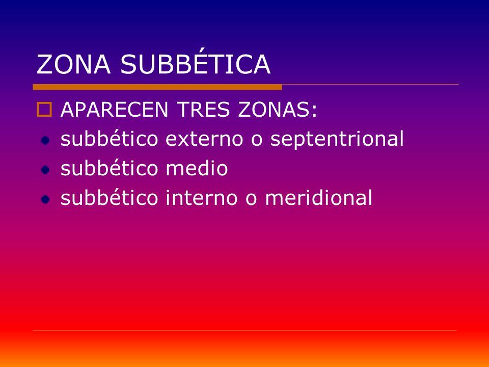 ZONA SUBBÉTICA APARECEN TRES ZONAS: subbético externo o septentrional