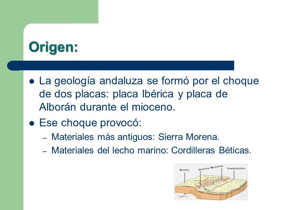 Origen: La geología andaluza se formó por el choque de dos placas: placa Ibérica y placa de Alborán durante el mioceno.