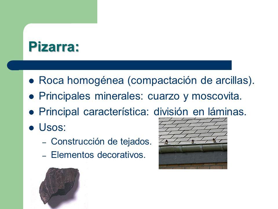Pizarra: Roca homogénea (compactación de arcillas).