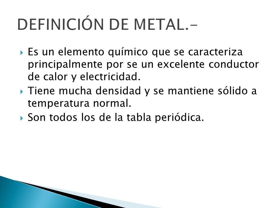DEFINICIÓN DE METAL.- Es un elemento químico que se caracteriza principalmente por se un excelente conductor de calor y electricidad.
