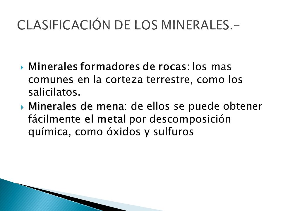 CLASIFICACIÓN DE LOS MINERALES.-
