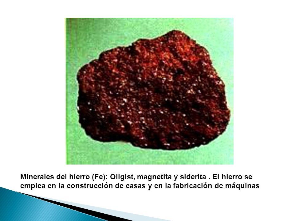 Minerales del hierro (Fe): Oligist, magnetita y siderita