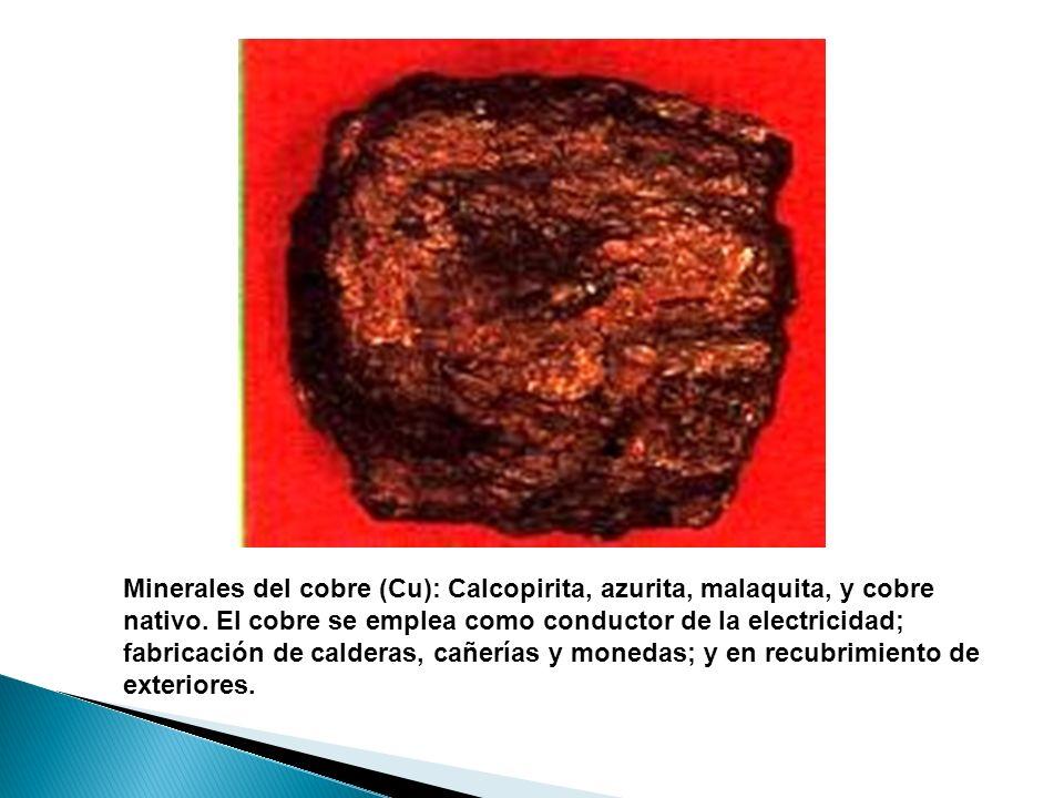 Minerales del cobre (Cu): Calcopirita, azurita, malaquita, y cobre nativo.